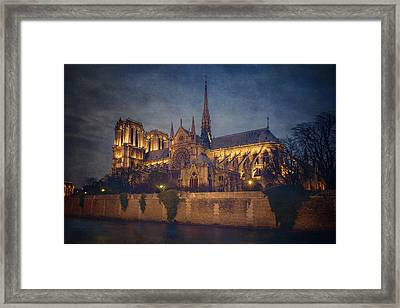 Notre Dame On The Seine Textured Framed Print by Joan Carroll