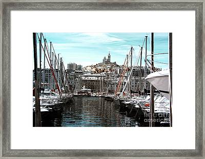 Notre Dame Over The Port Framed Print by John Rizzuto