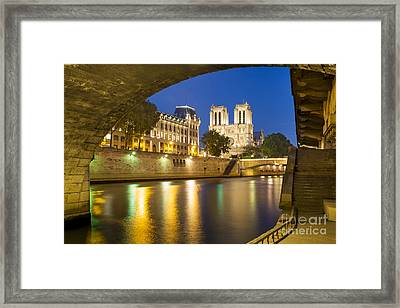 Notre Dame - Paris Night View Framed Print by Brian Jannsen