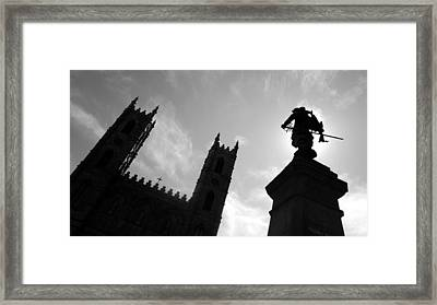 Framed Print featuring the photograph Notre Dame Silhouette by Valentino Visentini