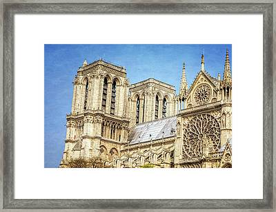 Notre Dame South Facade And Rose Window Framed Print by Joan Carroll