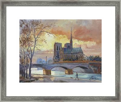 Notre Dame - Sunset, Paris Framed Print