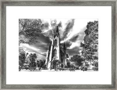 Notre Dame University 4a Black White Framed Print by David Haskett