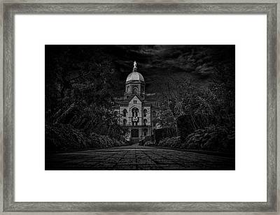 Notre Dame University Golden Dome Bw Framed Print by David Haskett