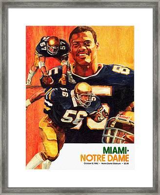 Notre Dame Versus Miami 1982 Program Framed Print by Big 88 Artworks