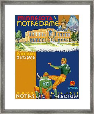 Notre Dame Versus Minnesota 1938 Program Framed Print by Big 88 Artworks