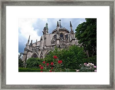 Notre Dame With Rose Garden Framed Print