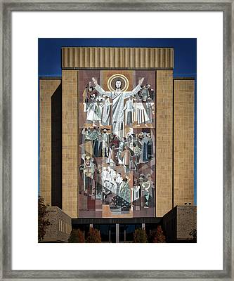 Notre Dame's Touchdown Jesus Framed Print by Mountain Dreams