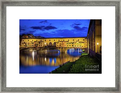 Notte A Ponte Vecchio Framed Print by Inge Johnsson