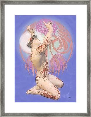 Nouveau Blue Ecce Homo Framed Print