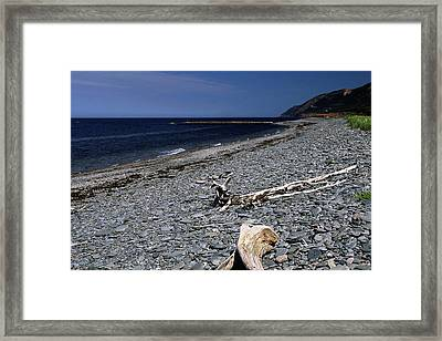 Nova Scotia Pebble Beach Framed Print by Sally Weigand