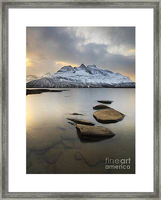 Novatinden Mountain And Skoddeberg Lake Framed Print by Arild Heitmann