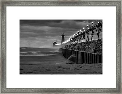 Framed Print featuring the photograph November Gales In Grand Haven by Thomas Gaitley