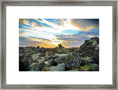 November Light Over Icelandic Lava Field Framed Print