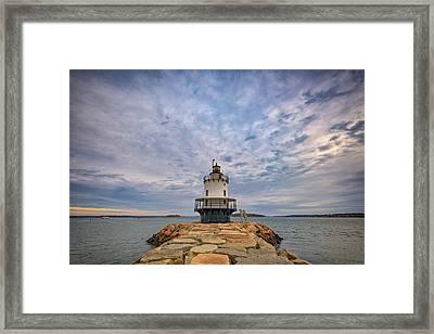 November Morn At Spring Point Ledge Light Station Framed Print by Rick Berk