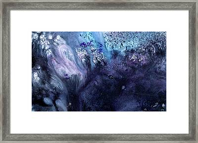 November Rain - Contemporary Blue Abstract Painting Framed Print