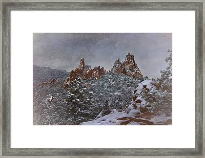 Framed Print featuring the photograph November Snow - Garden Of The Gods by Ellen Heaverlo