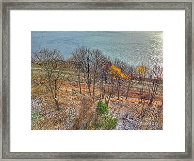 November Snow On Casco Bay Framed Print