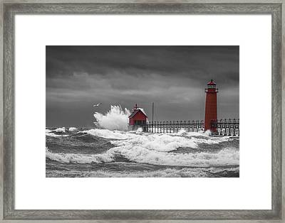 November Storm  With Flying Gull By The Grand Haven Lighthouse Framed Print by Randall Nyhof