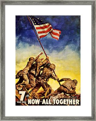 Now All Together Vintage War Poster Restored Framed Print