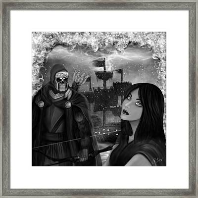Now Or Never - Black And White Fantasy Art Framed Print by Raphael Lopez