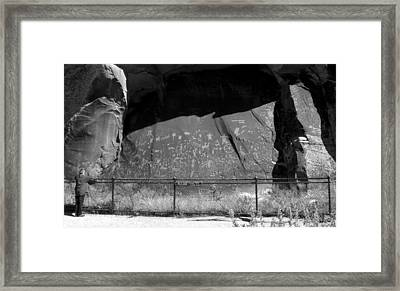 Newspaper Rock With Lady Framed Print by David Lee Thompson