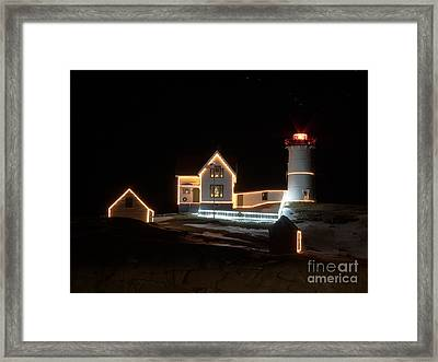 Nubble At Night Framed Print by Patrick Fennell