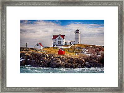Nubble In Winter Framed Print by Tricia Marchlik