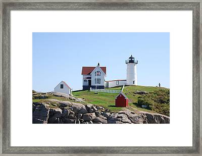 Nubble Light Framed Print by Armand Hebert