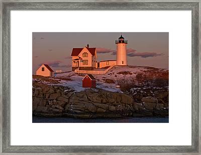 Nubble Light At Sunset Framed Print