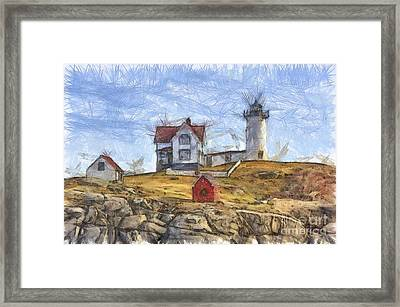 Nubble Light Cape Neddick Lighthouse Sohier Park York Maine Pencil Framed Print by Edward Fielding