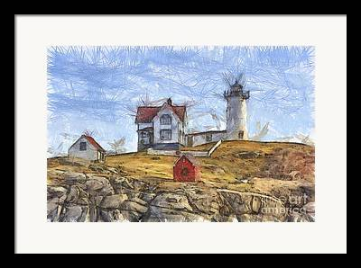 Cape Neddick Lighthouse Digital Art Framed Prints
