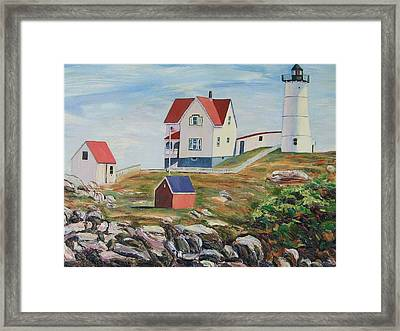 Nubble Light House Maine Framed Print by Richard Nowak