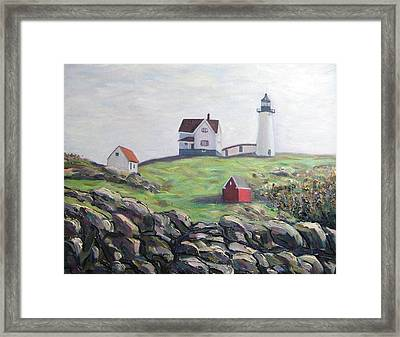Nubble Light House Framed Print by Richard Nowak