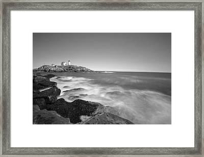 Nubble Light In York Me Cape Neddick Black And White Framed Print by Toby McGuire
