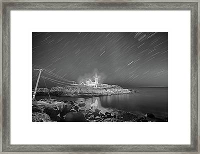 Nubble Light In York Me Hurtling Through Space Cape Neddick Black And White Framed Print by Toby McGuire