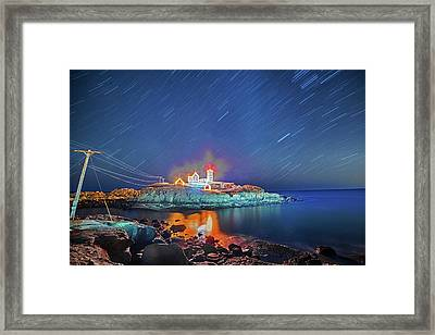 Nubble Light In York Me Hurtling Through Space Cape Neddick Framed Print by Toby McGuire