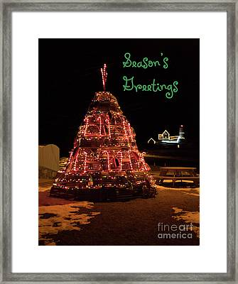 Nubble Light - Season's Greetings Framed Print
