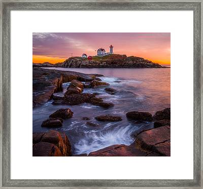 Nubble Light Sunrise Framed Print by Darren White