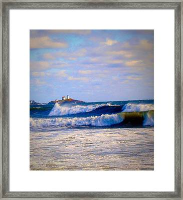Nubble Lighthouse Framed Print by Anne Sands
