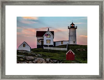 Nubble Lighthouse At Dusk  Framed Print