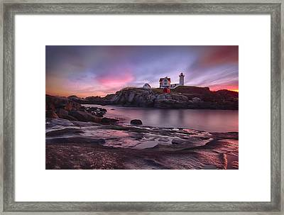 Nubble Lighthouse At Sunrise York Me Framed Print