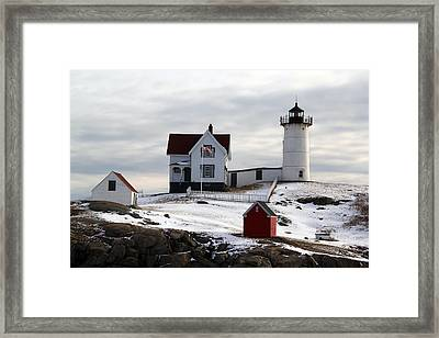 Nubble Lighthouse Framed Print by Becca Brann