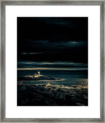 Nubble Lighthouse Framed Print by Bob Orsillo