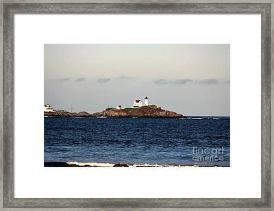 Nubble Lighthouse In Cape Neddick Framed Print by Mesa Teresita