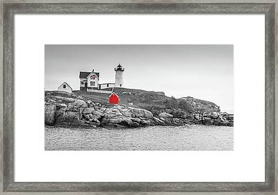 Nubble Lighthouse In Color And Black And White Framed Print