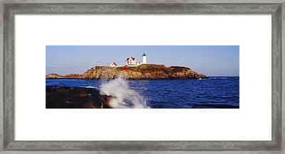 Nubble Lighthouse In Daylight Framed Print by Jeremy Woodhouse