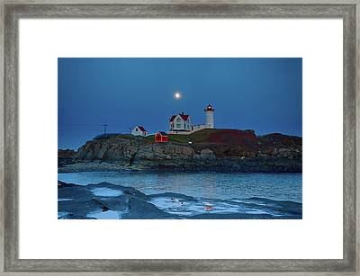 Framed Print featuring the photograph Nubble Lighthouse Lit For Christmas by Jeff Folger