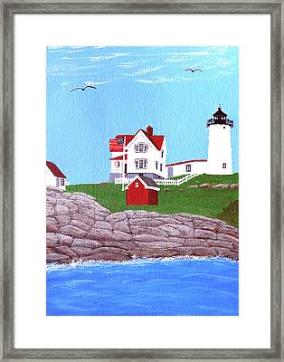 Nubble Lighthouse Painting Framed Print
