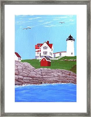 Nubble Lighthouse Painting Framed Print by Frederic Kohli